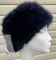 Navy Moore and Moore Ermine Faux Fur Pill Box Hat MM53